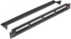 "NMC-RP24UE2-AN-1U-BK Коммутационная панель NIKOMAX 19"", 1U, 24 угловых порта, Кат.6 (Класс E), 250МГц, RJ45/8P8C, 110/KRONE, T568A/B, неэкранированная"