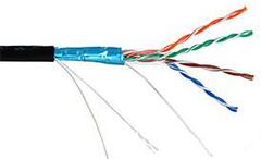EC-UF004-5E-PC050-PE-BK Кабель NETLAN F/UTP 4 пары, Кат.5e , BC (чистая медь), с многожильным силовым кабелем 0,50мм2, внешний, PE до -40C, черный, 305м