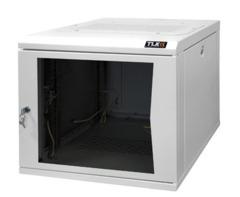 """TWC-125360-G-W-GY Настенный шкаф 19"""", 12U, стеклянная дверь, Ш530хВ599хГ600мм, цельносварной, серый"""