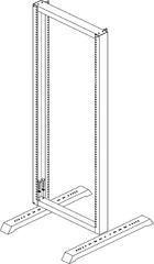 """TRD-425780-GY Монтажная стойка однорамная 19"""", 42U, Ш570xВ2026xГ805мм, в разобранном виде, серая"""