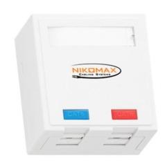 NMC-WO2SE2-FT-ST-WT Настенная розетка NIKOMAX, 2 порта, Кат.6