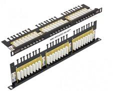 "NMC-RP24UE2-HU-BK Коммутационная панель NIKOMAX 19"", 0,5U, 24 порта, Кат.6 (Класс E), 250МГц, RJ45/8P8C, 110/KRONE, T568A/B, неэкранированная"