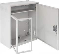 EC-WS-047028-GY Настенный антивандальный шкаф с поворотной рамой и полкой, 4U, Ш580хВ700хГ280мм, серый