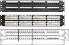 """NMC-RP48UD2-AN-2U-BK Коммутационная панель NIKOMAX 19"""", 2U, 48 угловых портов, Кат.5e (Класс D), 100МГц, RJ45/8P8C, 110/KRONE, T568A/B, неэкранированная"""