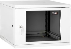 "TWI-156045-G-GY Настенный разборный шкаф TLK 19"", 15U, стеклянная дверь, Ш600хВ703хГ450мм, 1 пара монтажных направляющих, серый"