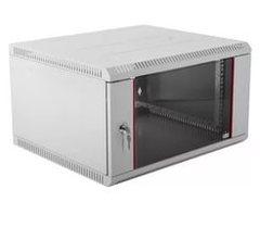 "TWI-066035-G-GY Настенный разборный шкаф TLK 19"", 6U, стеклянная дверь, Ш600хВ303хГ350мм, 1 пара монтажных направляющих, серый"